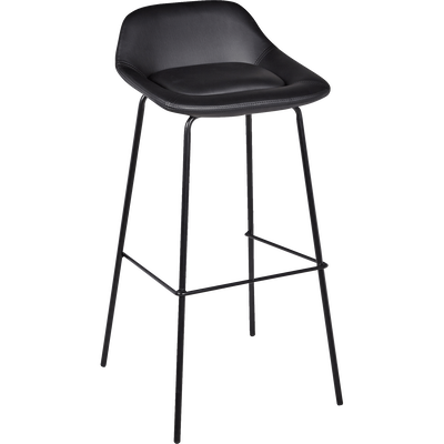 Chaise de bar en simili noir - H80cm-FIRMIN