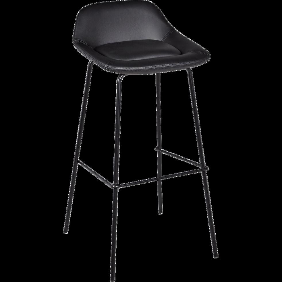 chaise de bar en simili noir h80cm firmin tabourets. Black Bedroom Furniture Sets. Home Design Ideas
