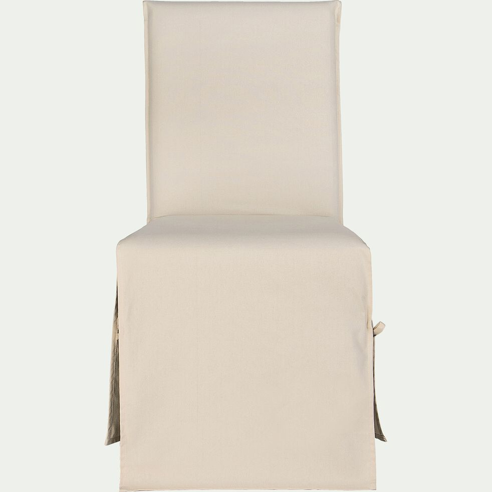 Housse de chaise en coton beige roucas-LILY