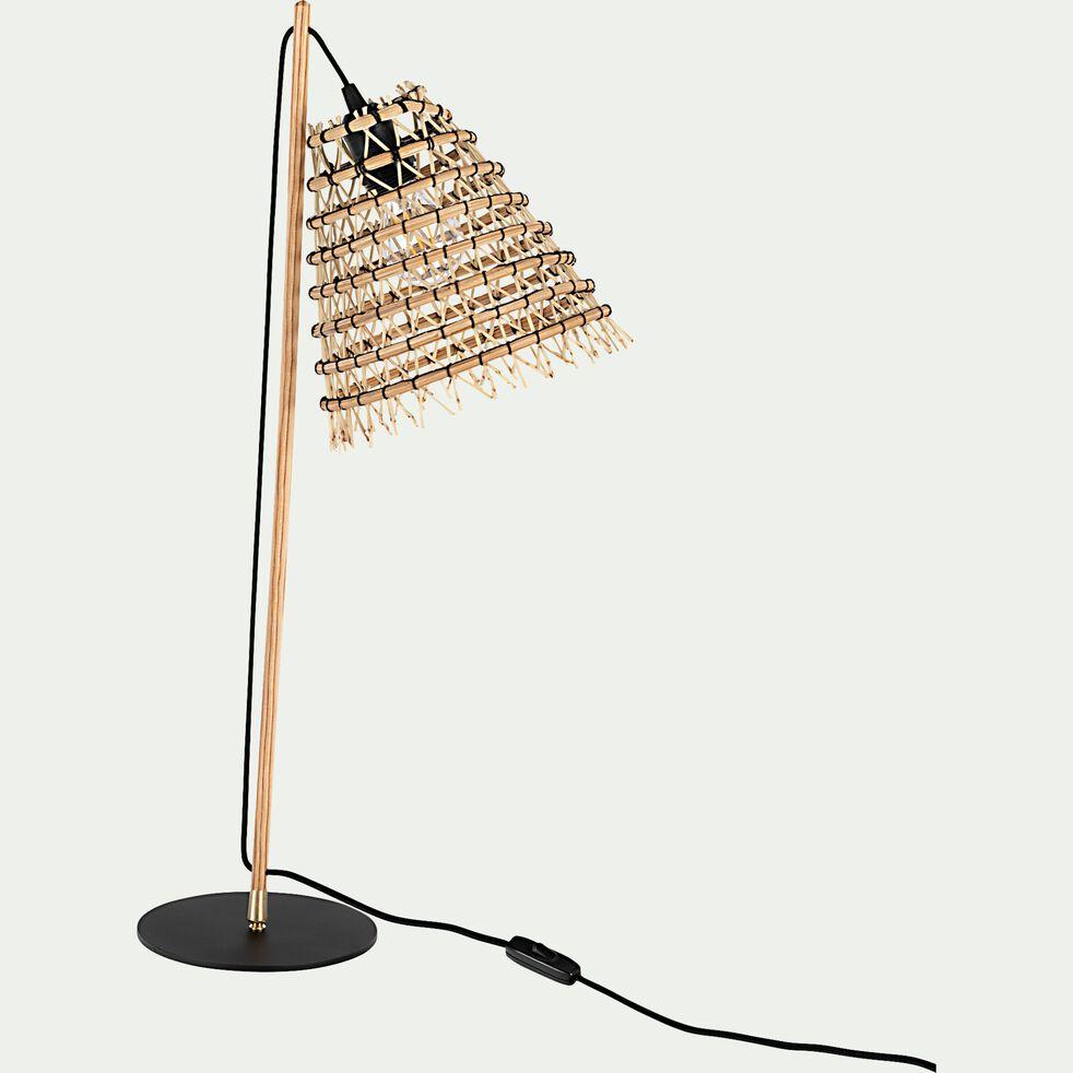 Lampe fait main en fibre de palmier - noir H69cm-ORIA