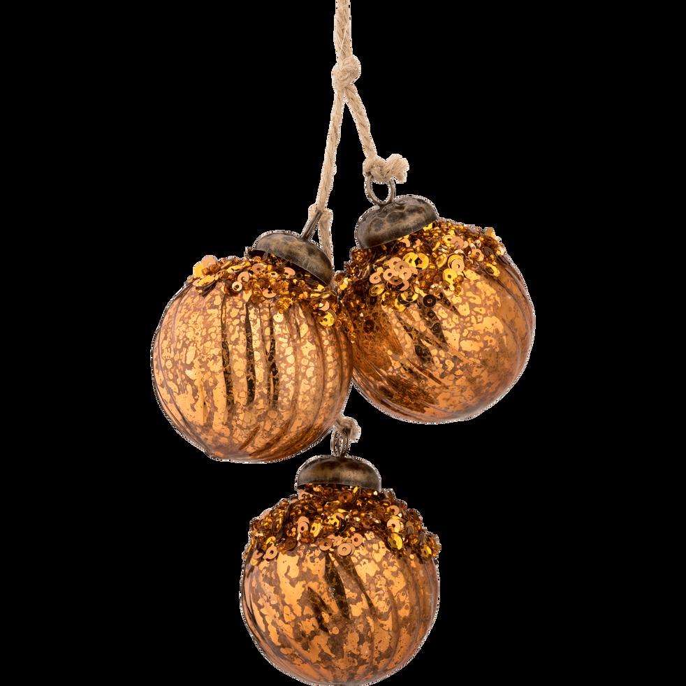 Grappe de 3 boules en verre D7cm-BIOD