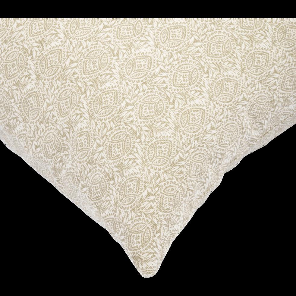 Coussin en coton imprimé beige roucas 45x45cm-AMANDE