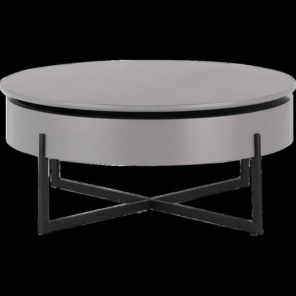 CHOUCAS - Table basse ronde gris borie avec plateau rotatif