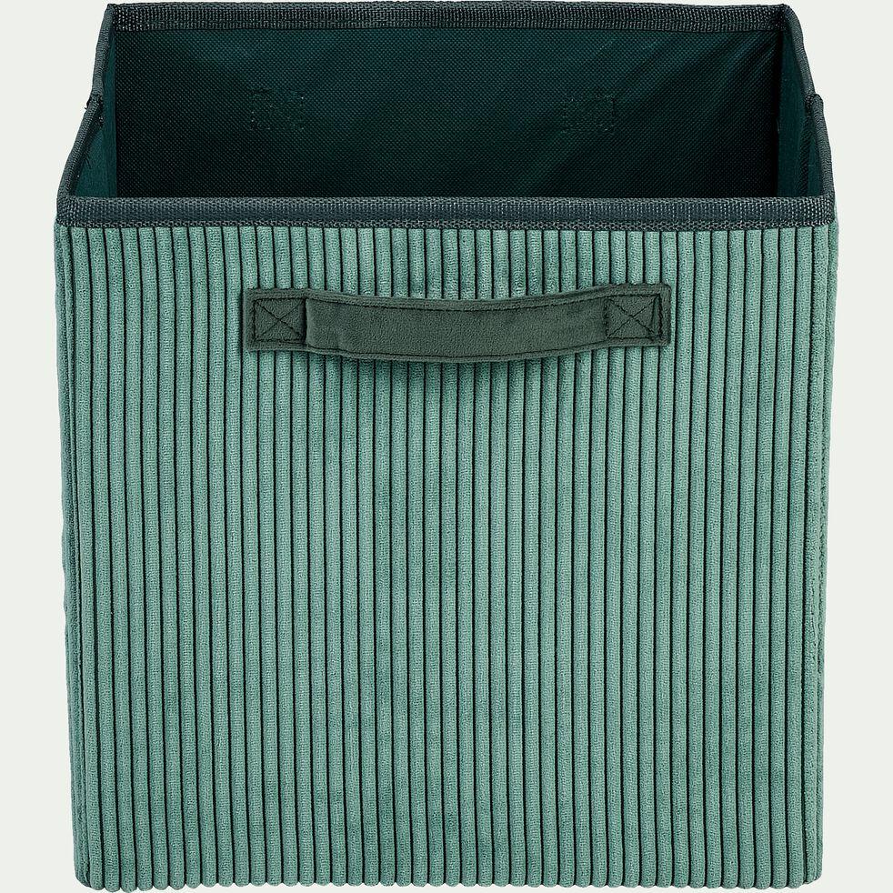 Panier de rangement en velours côtelé - vert H30xL30cm-Vela