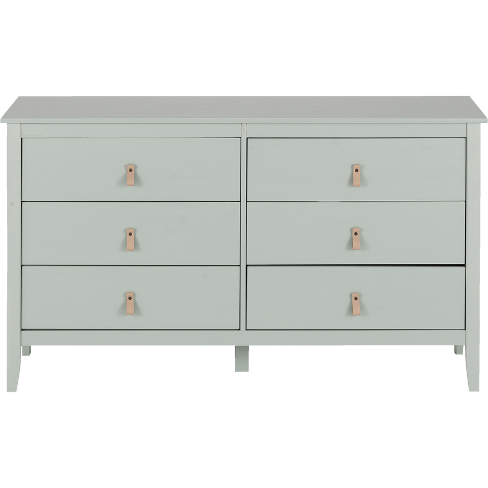 Commode en pin massif 2x3 tiroirs vert olivier - LISON - chambre ...