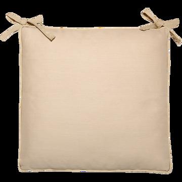 Galette de chaise carrée en coton couleur lin-Best
