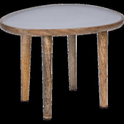 Bout de canapé en manguier avec plateau gris-SOULA