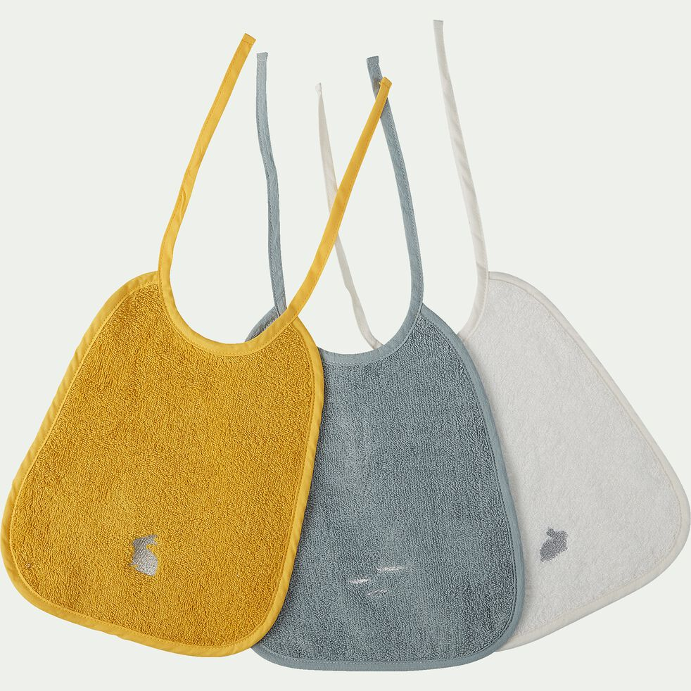 Lot de 3 bavoirs bébé bleu, blanc et jaune en coton bio et broderie lurex-Plume
