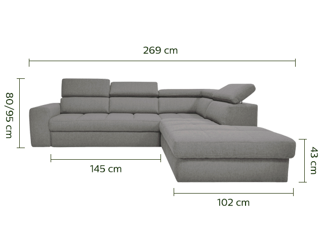 Canapé d'angle droit panoramique convertible en tissu gris clair-TONIN