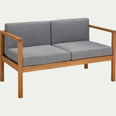 Canapé de jardin 2 places en acacia -  130x69xH66cm gris-CARLO