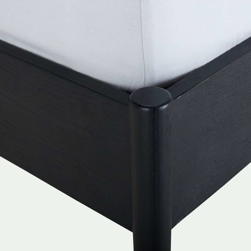 Lit 2 places en bois - 160x200cm noir-PRADO