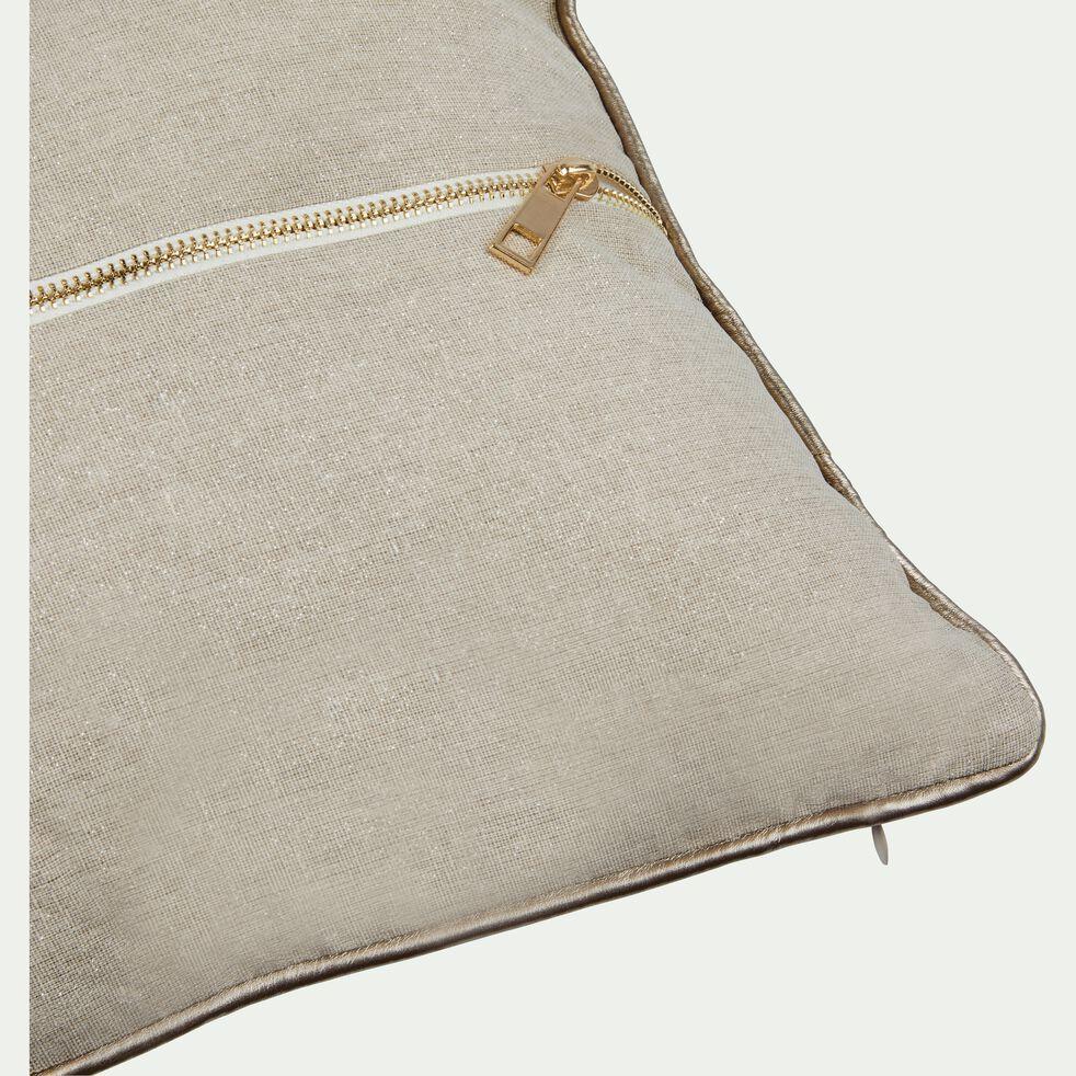 Coussin passepoil en polyester - beige et doré 30x50cm-ASTRID
