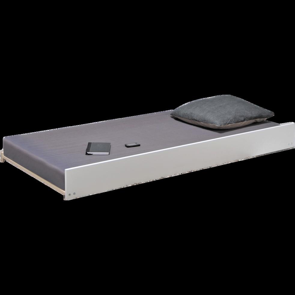 tiroir de lit roulettes en pic a massif blanc avec sommier 90x200 cm extens 90x200 cm. Black Bedroom Furniture Sets. Home Design Ideas