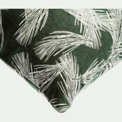 Coussin en velours imprimé vert 40x40cm-PIN D'ALEP