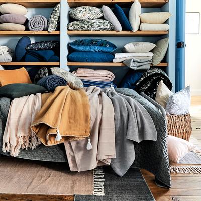 Couvre-lit en coton gris borie et gris restanque 230x250cm-CASTEL
