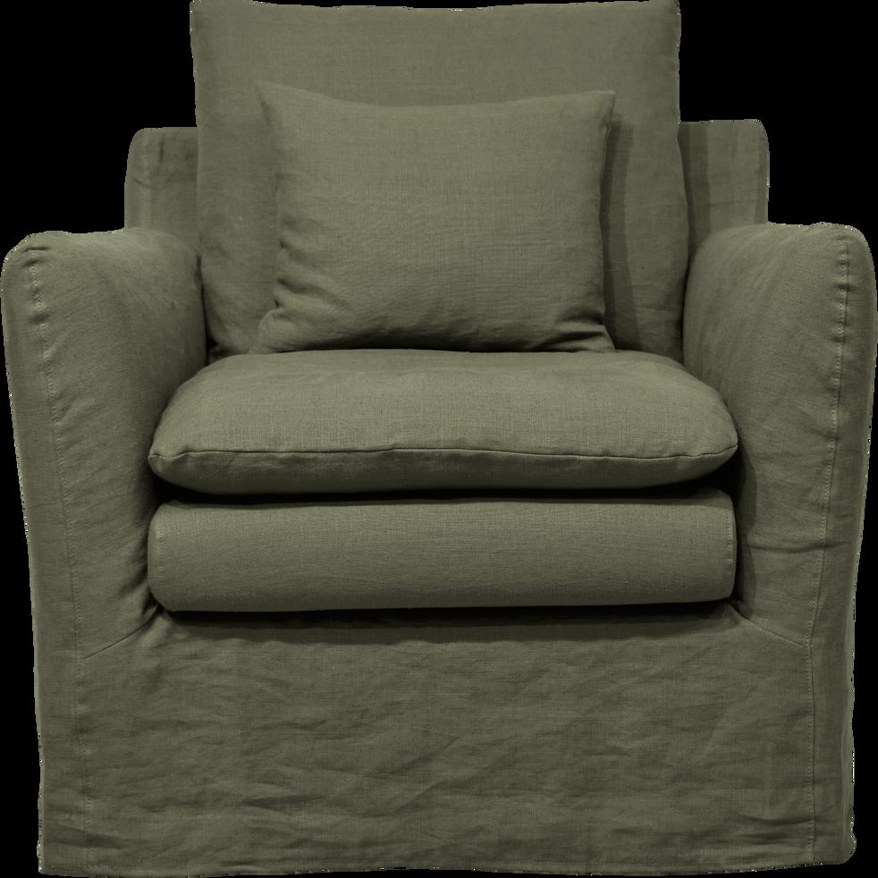 Fauteuil en tissu jupe longue kaki cèdre-FITOU