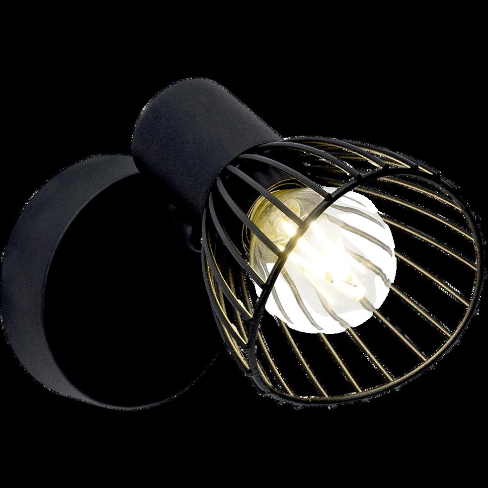 Spot en métal noir H7cm à 1 lumière LED-ELHI