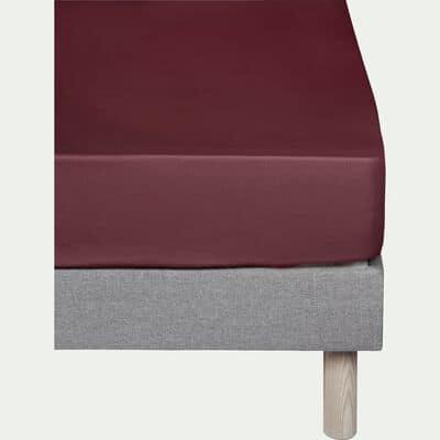 Drap housse en coton Rouge sumac 90x200cm -bonnet 25cm-CALANQUES