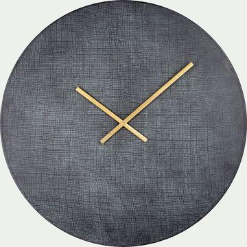 Horloge effet ardoise en fer - noir D76cm-ANTIKA