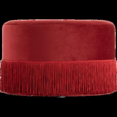 Pouf en velours rond D55cm Rouge sumac-MAUA