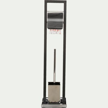 Balai et porte balai WC en métal époxy - noir-Flat