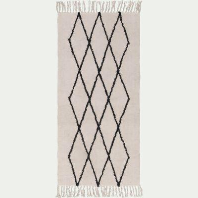 Tapis kilim écru avec des motifs noirs 60X120cm-FADILA