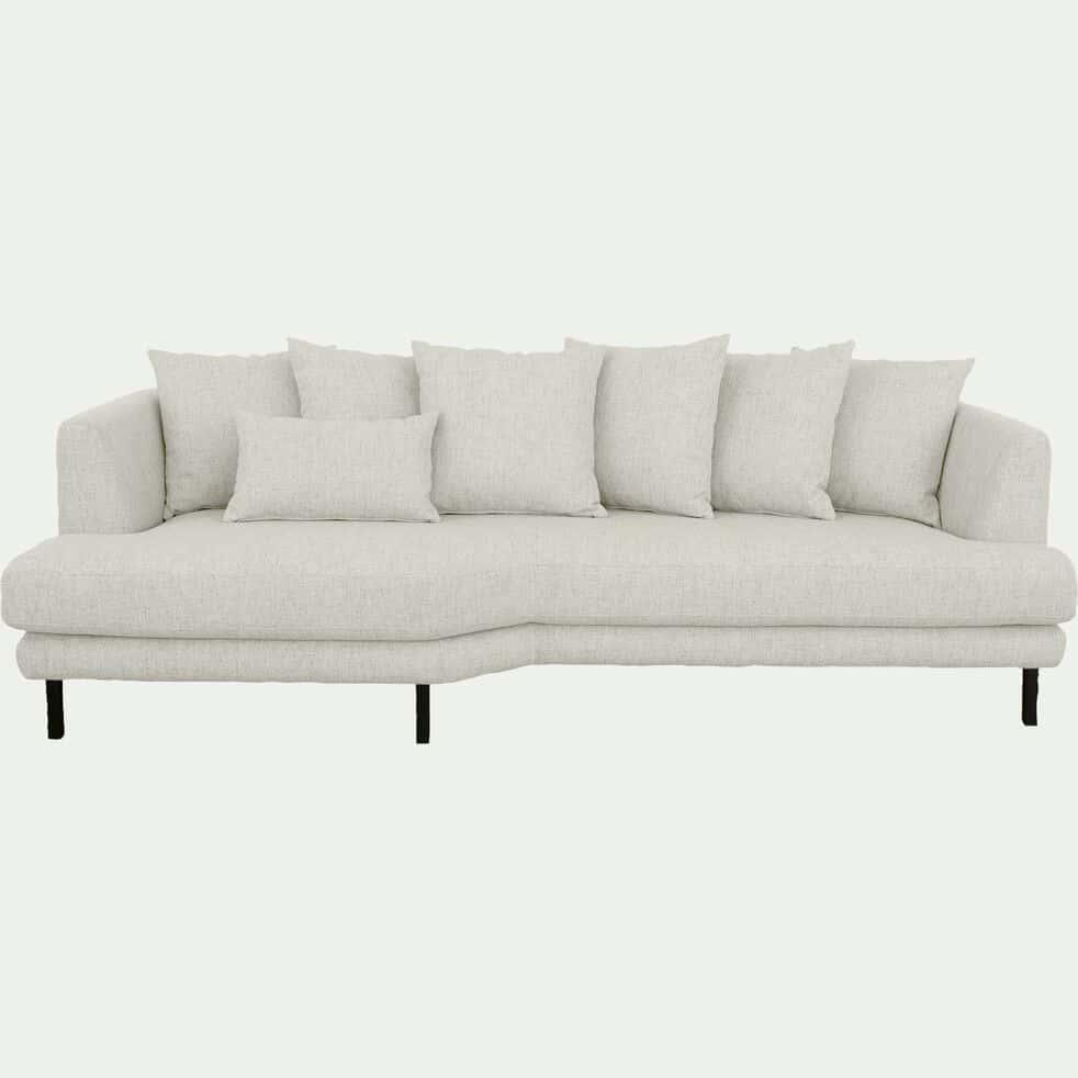 Canapé 5 places fixe gauche en tissu beige roucas-TESSOUN