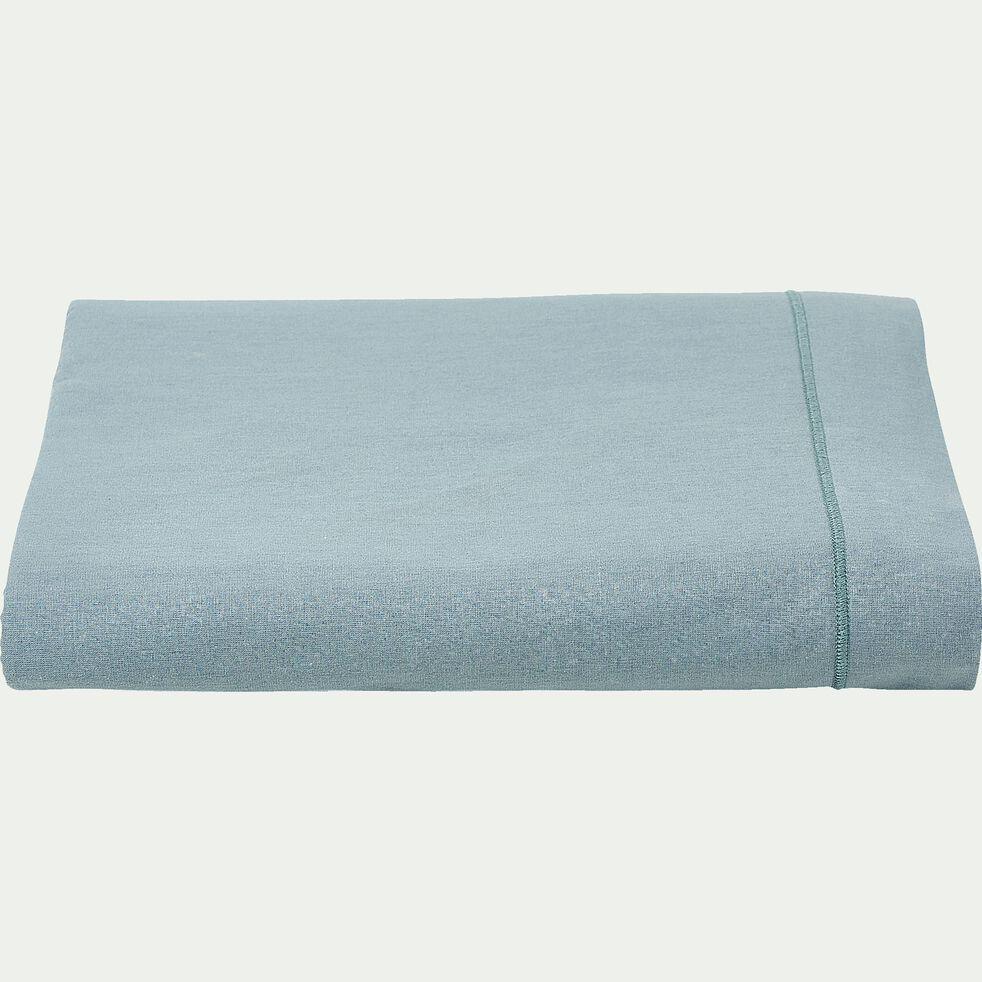 Drap plat en coton - bleu calaluna 270x300cm-CALANQUES