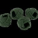 Lot de 4 ronds de serviette vert cèdre D5cm-QUARI