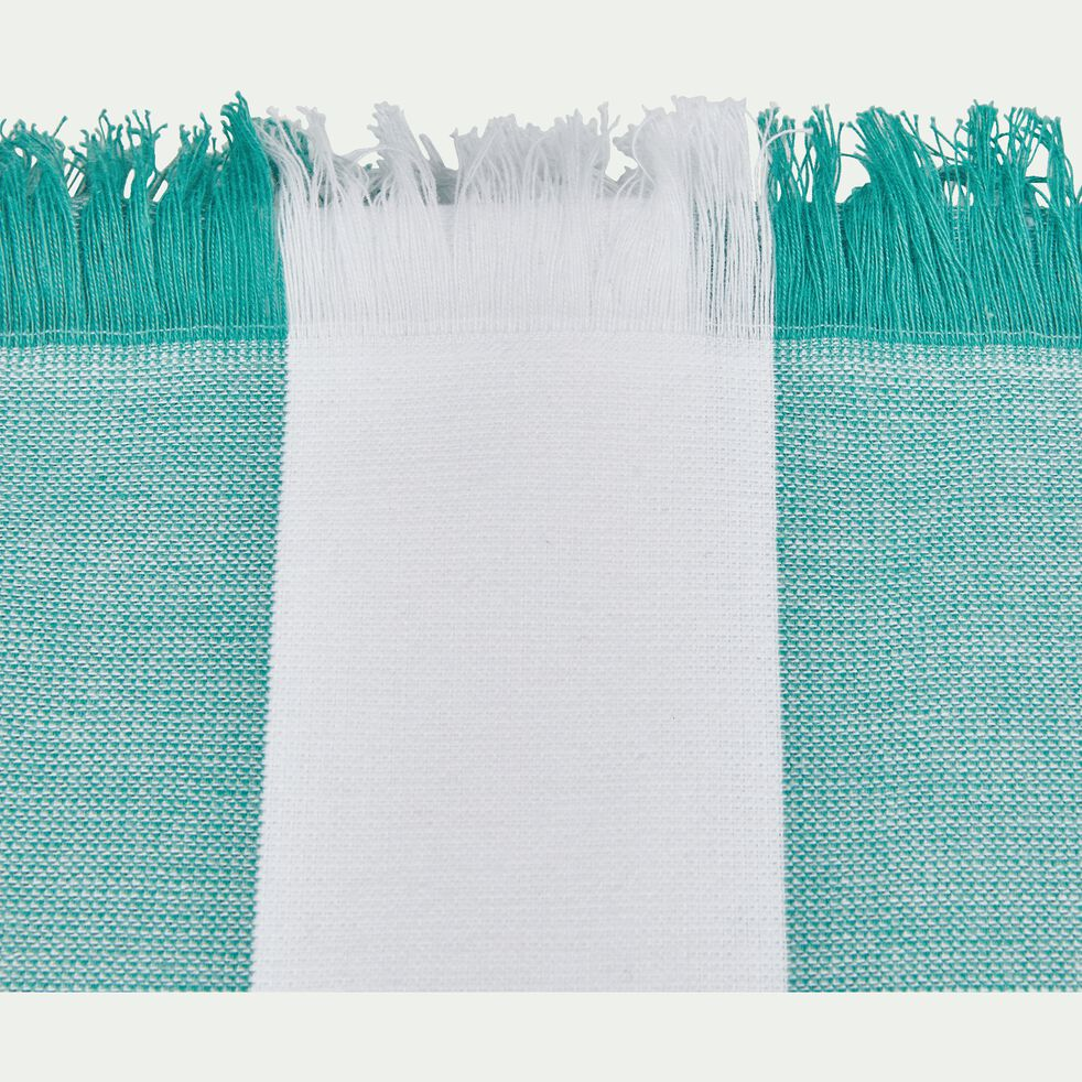 Drap de plage fouta rayé vert et blanc 100x180cm-AVEIRO