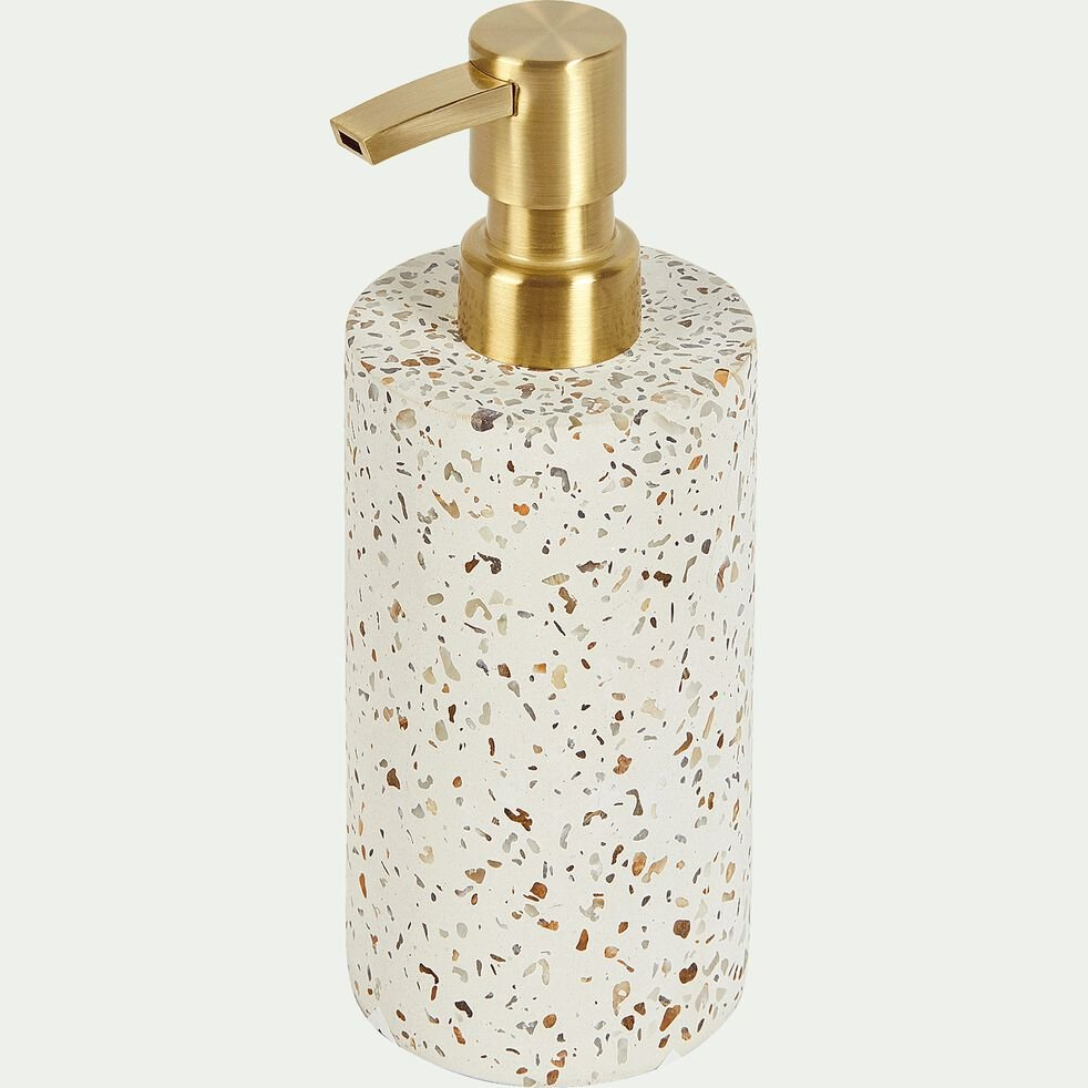 Distributeur de savon en terrazzo - blanc H16,5cm-TERRAIO