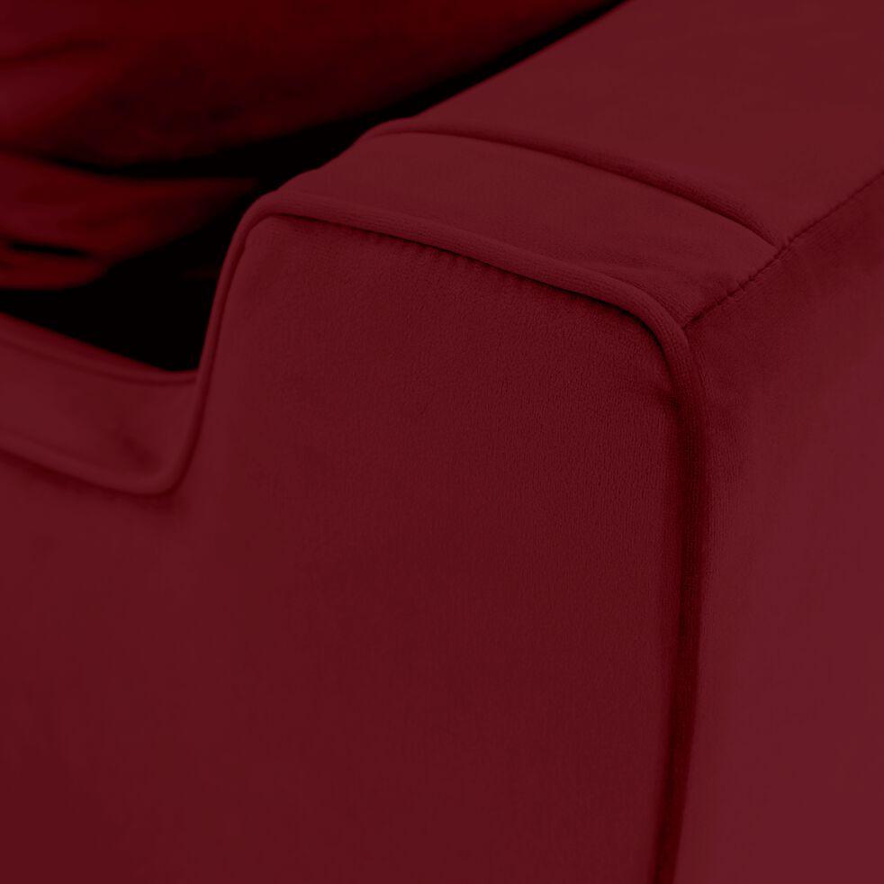 Canapé 3 places fixe en velours - rouge sumac-LENITA