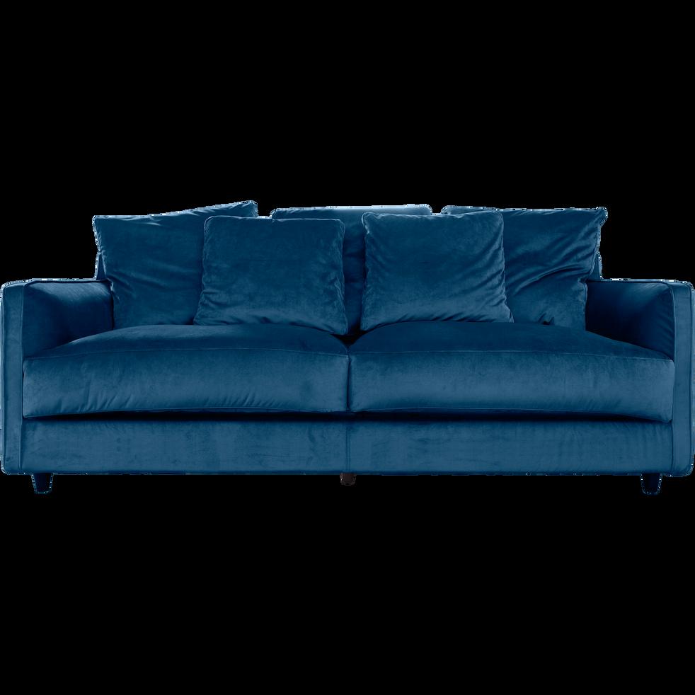 canap 3 places convertible en velours bleu figuerolles. Black Bedroom Furniture Sets. Home Design Ideas