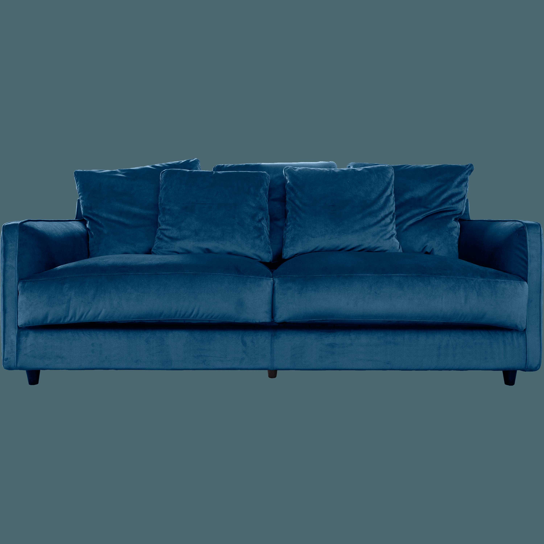 Canapé 3 Places Convertible En Velours Bleu Figuerolles LENITA