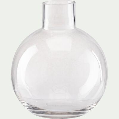 Vase boule fait-main en verre - transparent D17,5xH21cm-PLUMBAGO