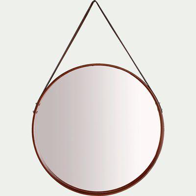 Miroir rond en bois avec sangle D50cm-JANIS