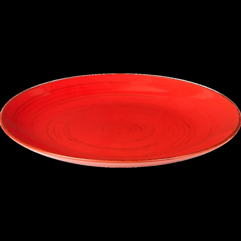 Assiette plate en grès rouge effet patiné D27.2cm-Ground