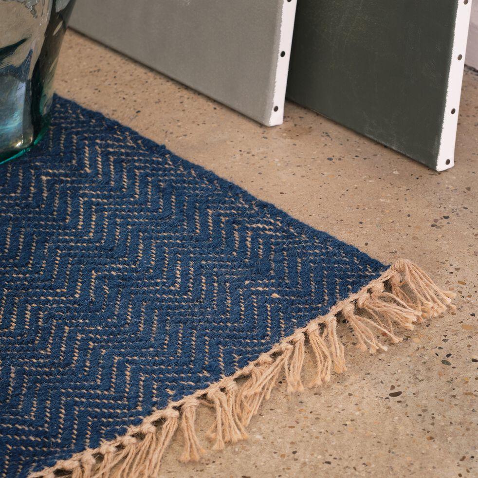 Tapis de couloir et laine et jute - bleu figuerolles 60x200cm-TURAU