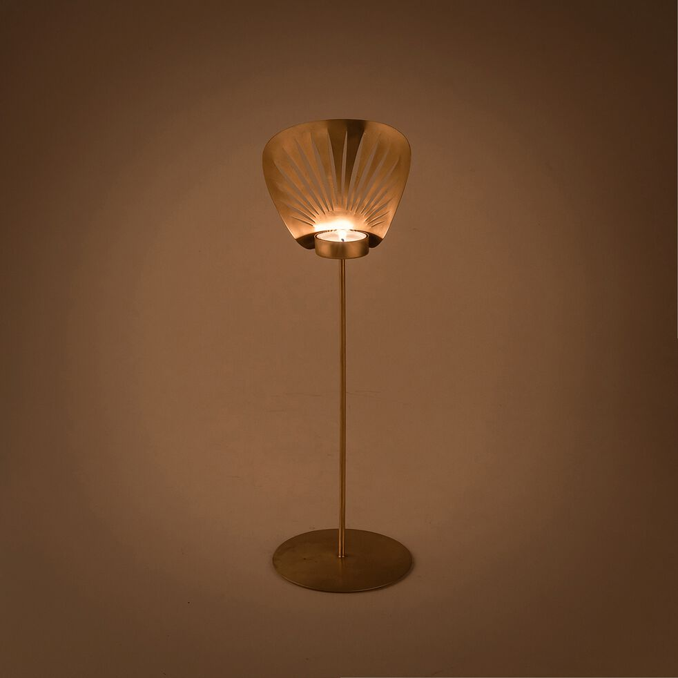 Bougeoir en métal doré H40cm-CEBU