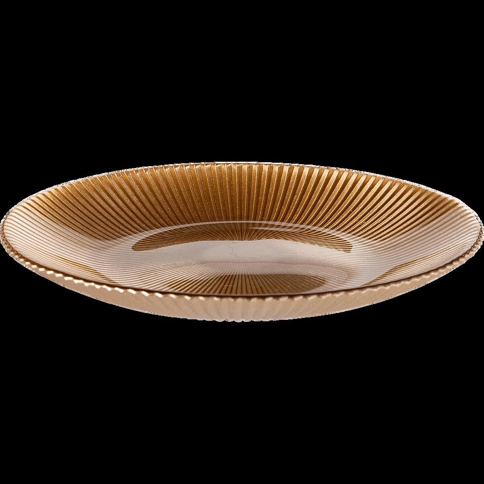 Assiette à dessert en verre strié doré D22cm-SPLENDIDE