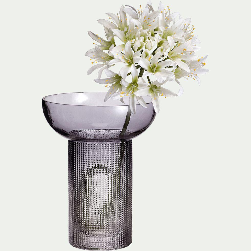 Vase en verre gris H20cm-TINO