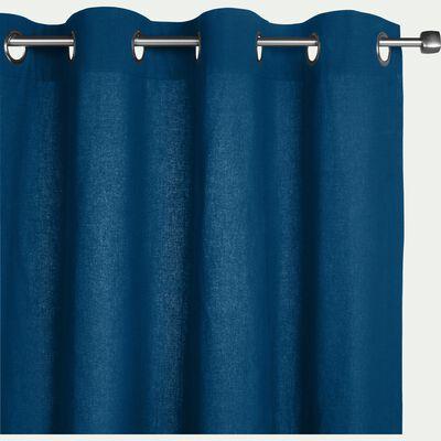 Rideau à oeillets en coton bleu figuerolles 140x250cm-CALANQUES