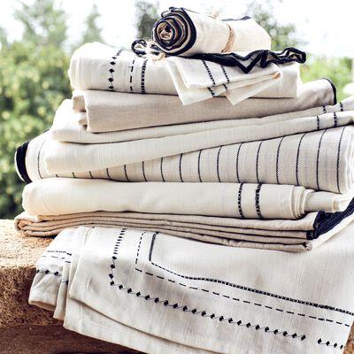 Nappe en coton blanc et noir 170x300cm-MEDINE