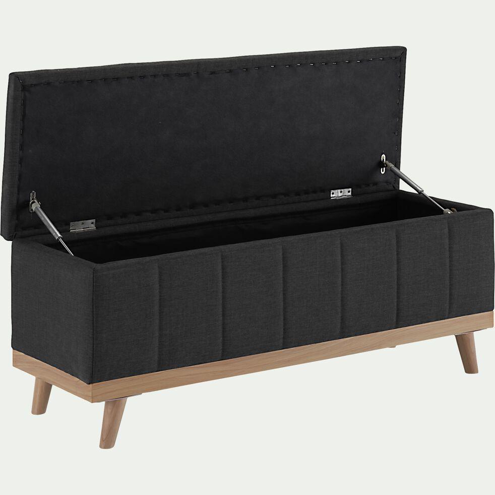 Bout de lit coffre en tissu et pin - gris anthracite L116cm-LUNA
