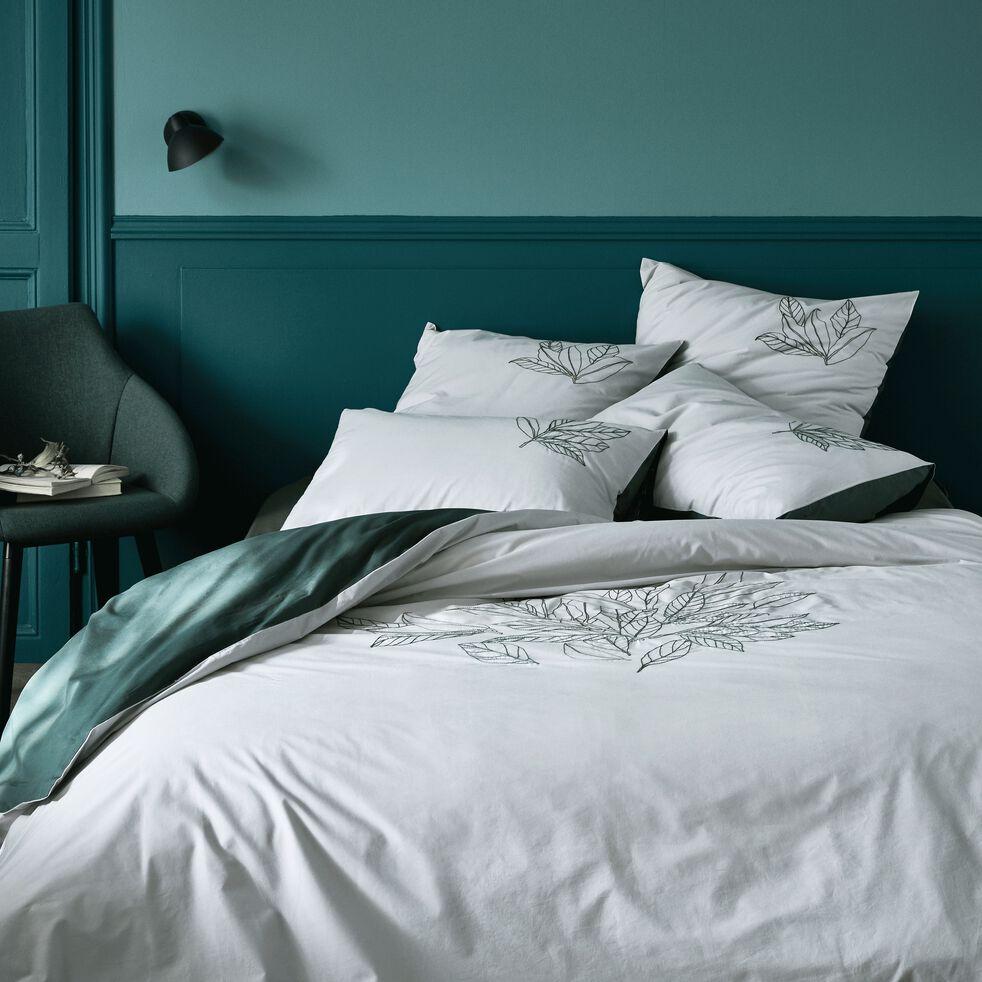 Housse de couette brodée motif Laurier - gris borie 240x220cm-ANGELE