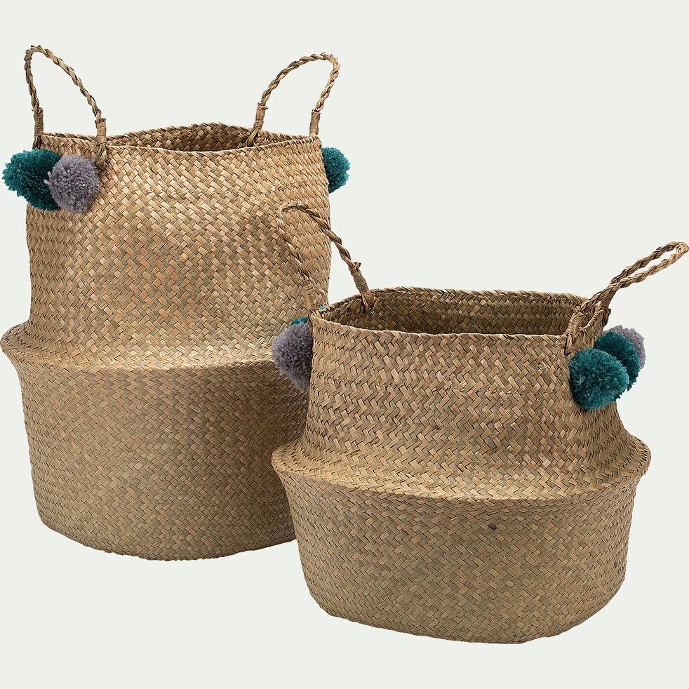 panier pliable en jacinthe et acrylique avec pompons verts - naturel d30xh30cm-Zita