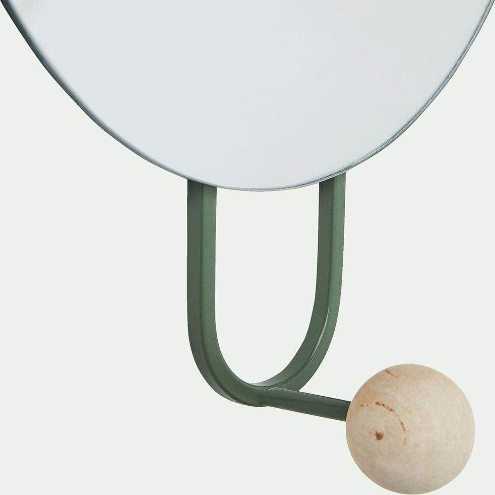 Miroir mural avec patère - vert  D20cm-Narcisse