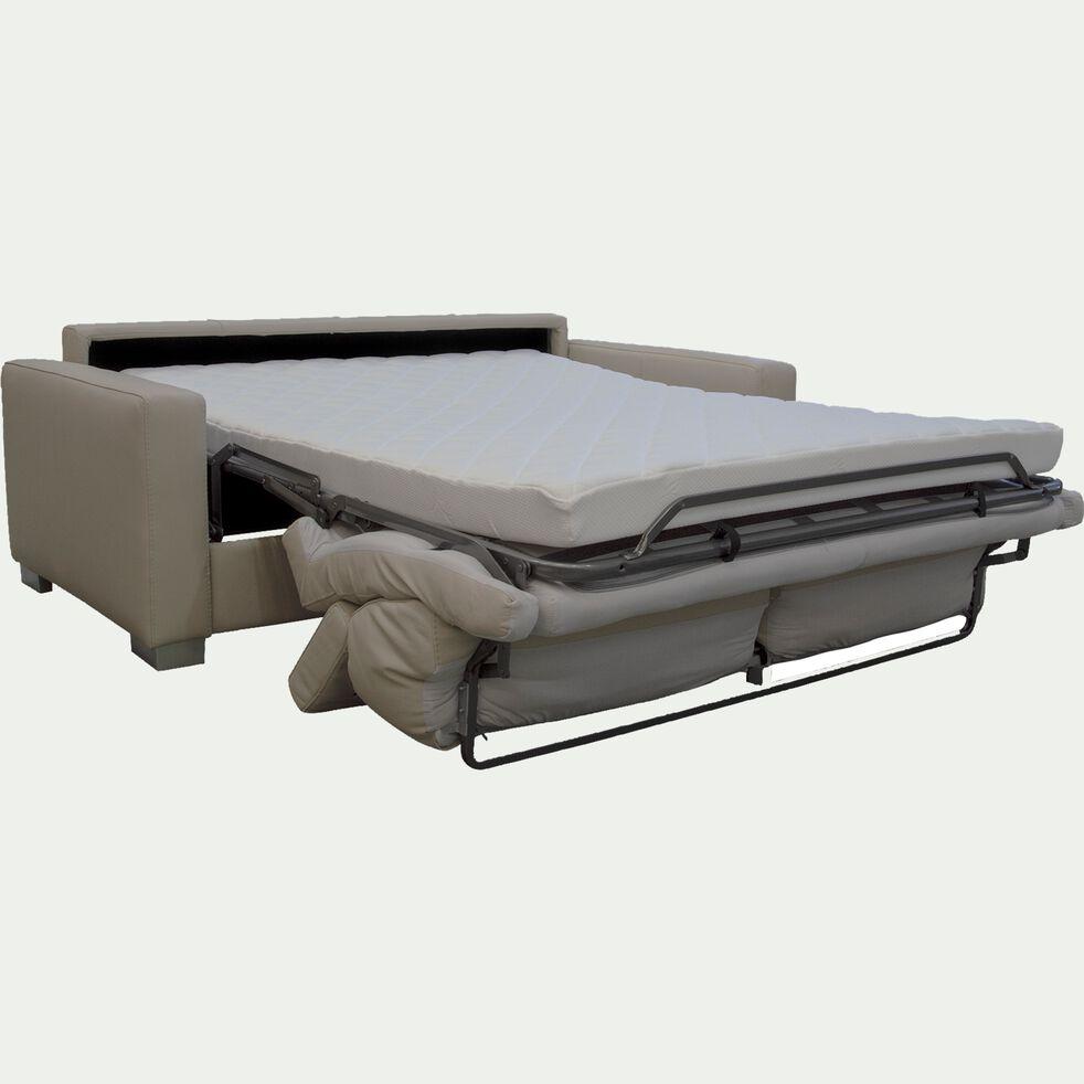 Canapé 3 places convertible en cuir avec accoudoir 15cm - beige-MAURO