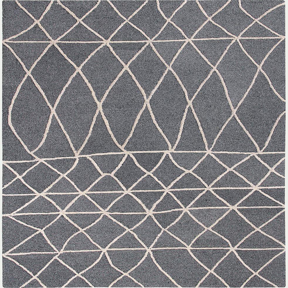 Tapis en viscose - gris et blanc 160x230cm-ETHNIC