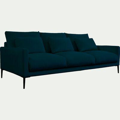 Canapé 4 places en velours - bleu figuerolles-SOZY